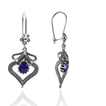 Kalp Model Safir Taşlı Telkari Gümüş Küpe