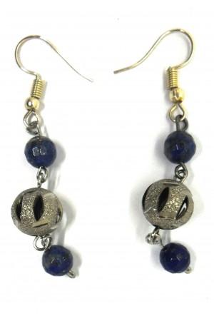 Lapis Lazuli Doğaltaş Metal Boncuk Küpe