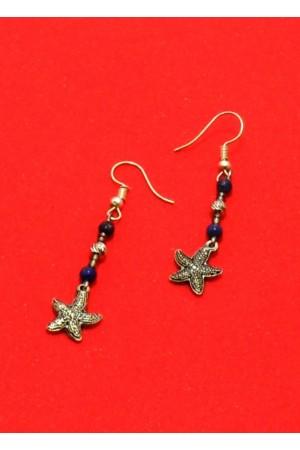 Lapis Lazuli Doğaltaş Metal Boncuk Yıldız Küpe