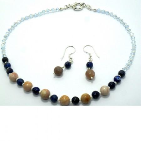 Aytaşı Lapis Lazuli Doğaltaş Gümüş Set
