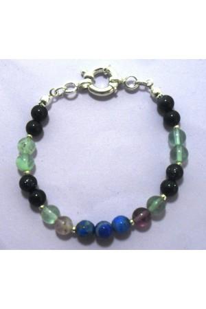 Yıldız Taşı,Florit Taşı,Lapis Lazuli Taşı Gümüş Bileklik