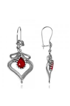Kalp Model Yakut Taşlı Telkari Gümüş Küpe